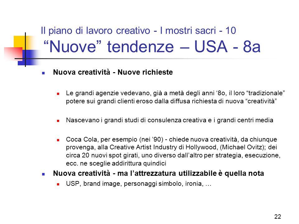Il piano di lavoro creativo - I mostri sacri - 10 Nuove tendenze – USA - 8a