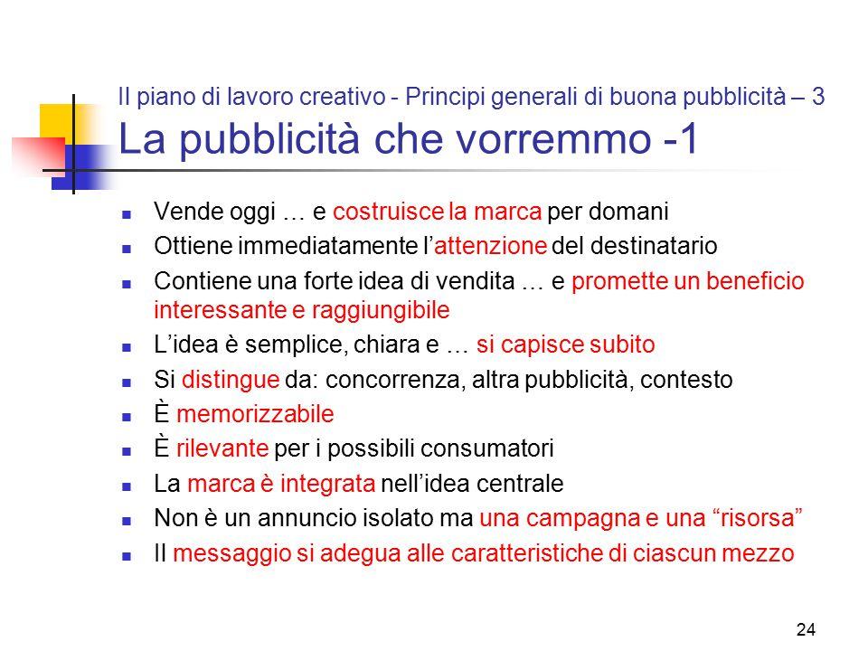 Il piano di lavoro creativo - Principi generali di buona pubblicità – 3 La pubblicità che vorremmo -1