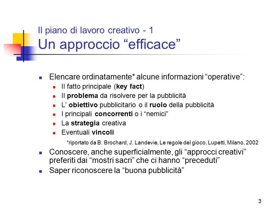 Il piano di lavoro creativo - 1 Un approccio efficace