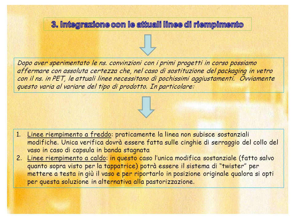 3. Integrazione con le attuali linee di riempimento