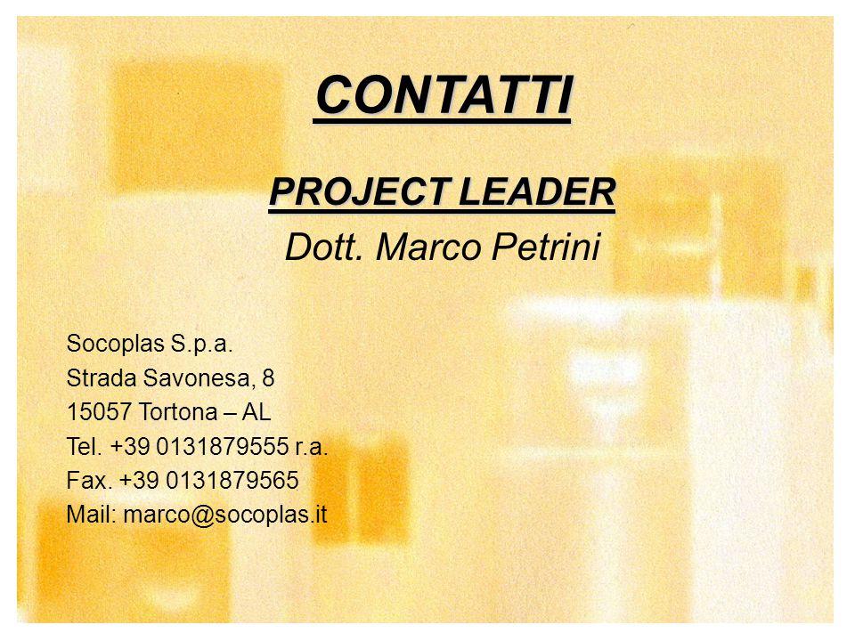 CONTATTI PROJECT LEADER Dott. Marco Petrini Socoplas S.p.a.