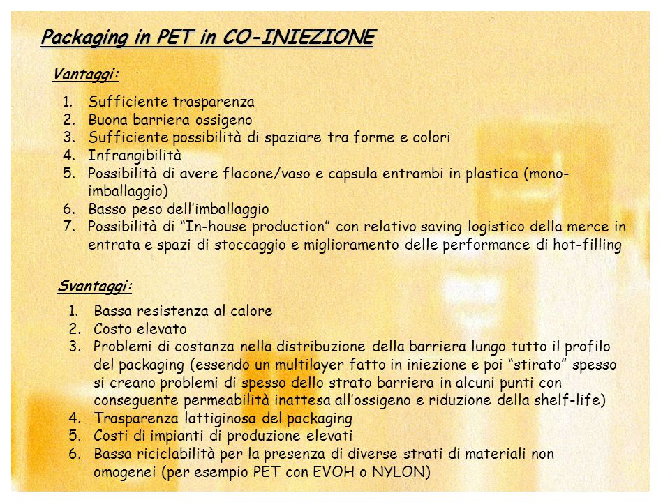 Packaging in PET in CO-INIEZIONE