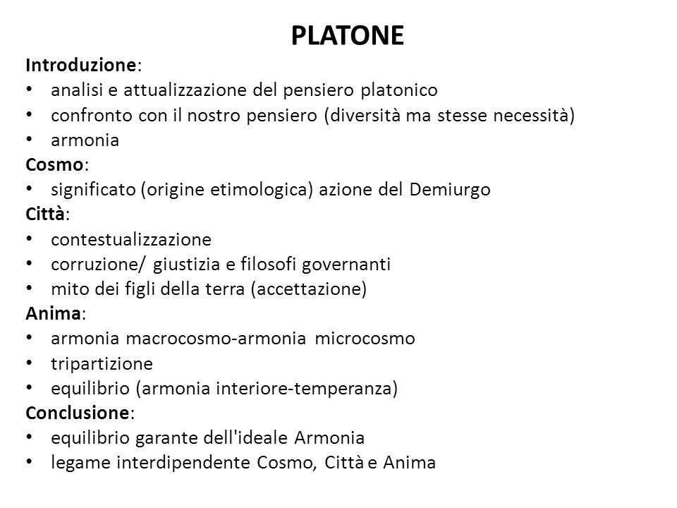 PLATONE Introduzione: analisi e attualizzazione del pensiero platonico
