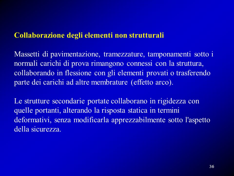Collaborazione degli elementi non strutturali