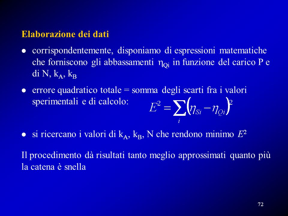 si ricercano i valori di kA, kB, N che rendono minimo E2