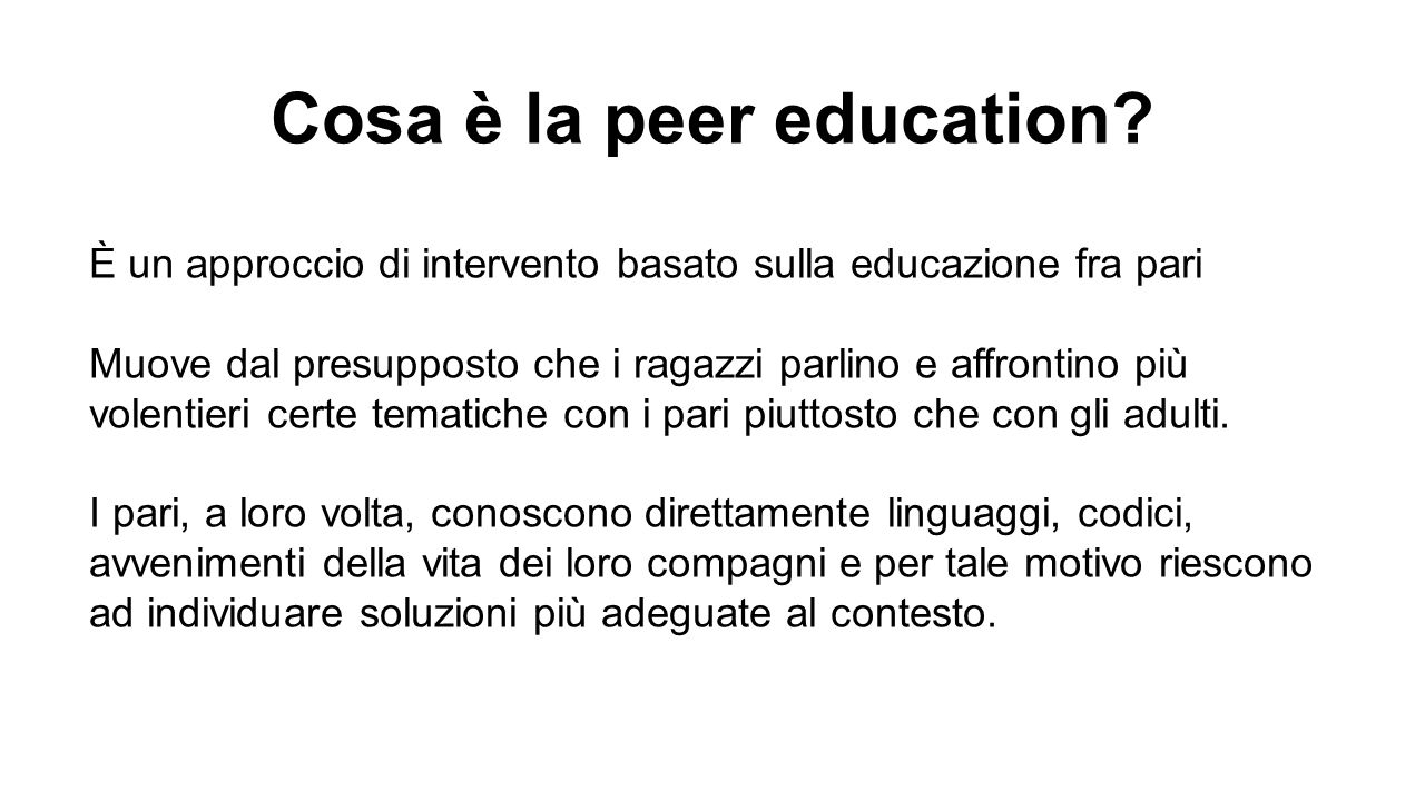 Cosa è la peer education