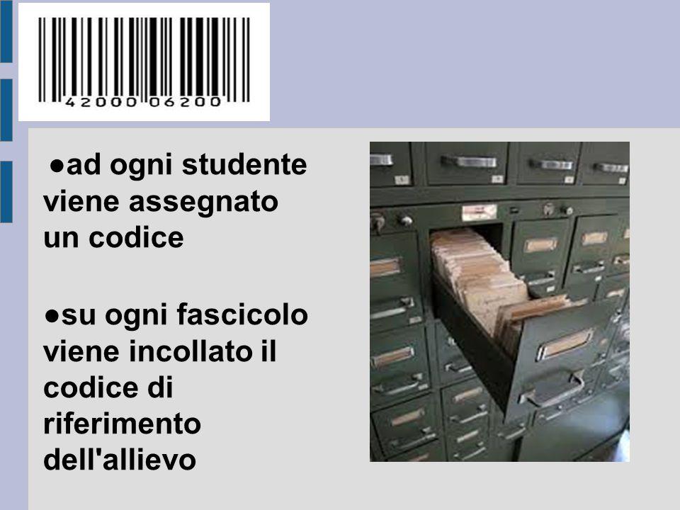 ●ad ogni studente viene assegnato un codice
