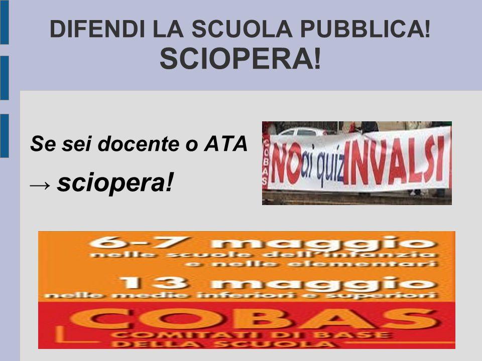 DIFENDI LA SCUOLA PUBBLICA! SCIOPERA!