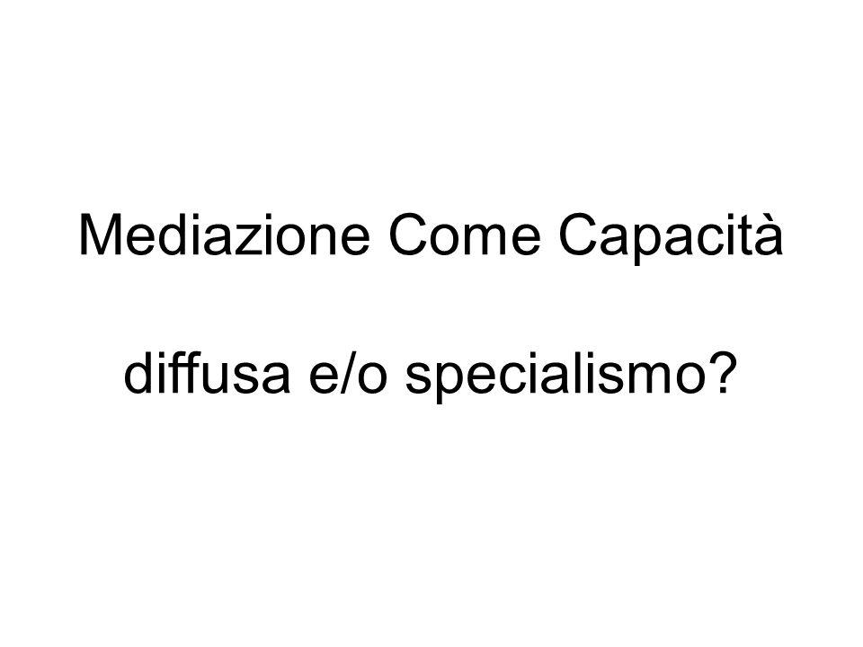 Mediazione Come Capacità diffusa e/o specialismo