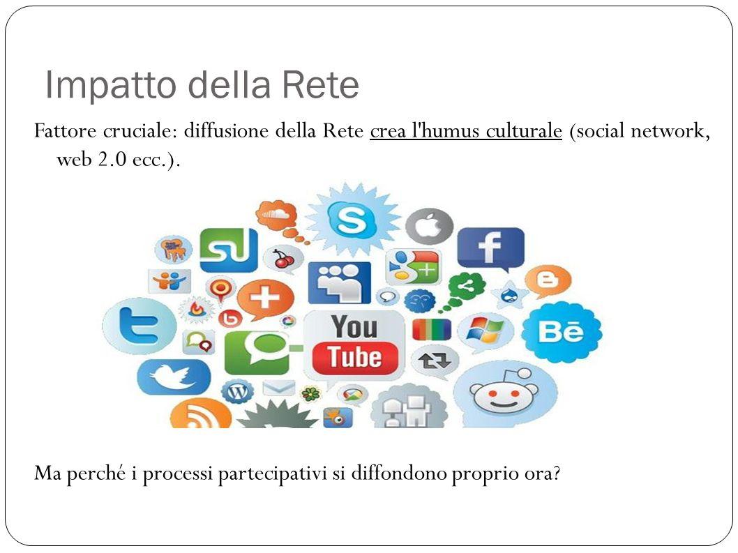 Impatto della Rete Fattore cruciale: diffusione della Rete crea l humus culturale (social network, web 2.0 ecc.).