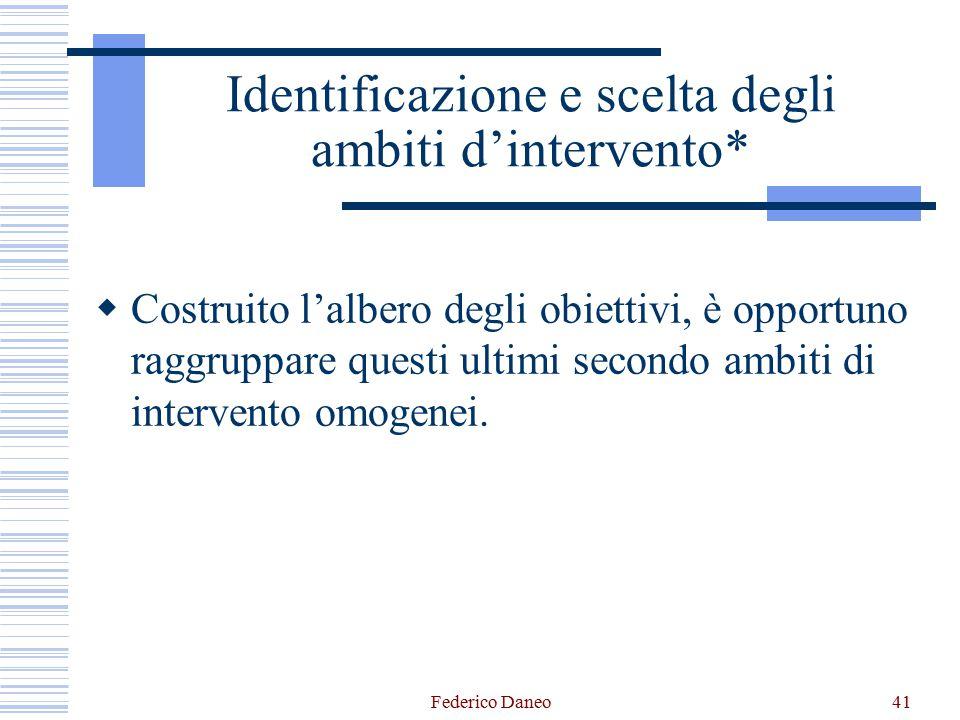 Identificazione e scelta degli ambiti d'intervento*