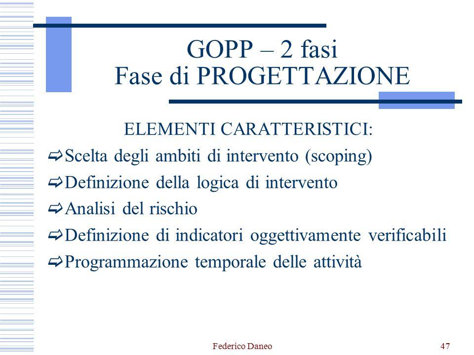 GOPP – 2 fasi Fase di PROGETTAZIONE