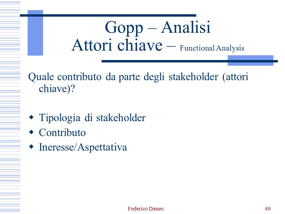 Gopp – Analisi Attori chiave – Functional Analysis