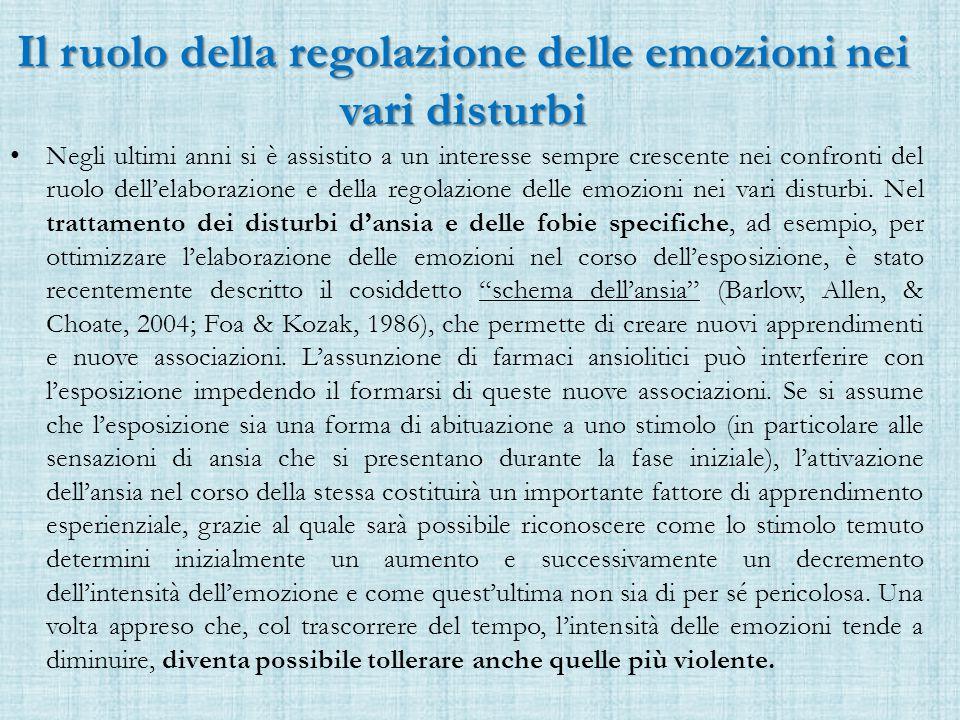 Il ruolo della regolazione delle emozioni nei vari disturbi