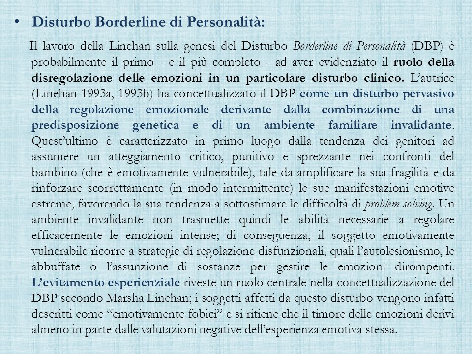 Disturbo Borderline di Personalità: