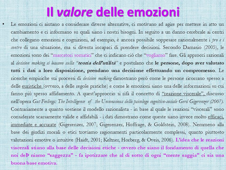 Il valore delle emozioni