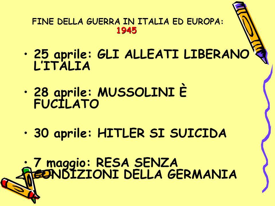 FINE DELLA GUERRA IN ITALIA ED EUROPA: 1945