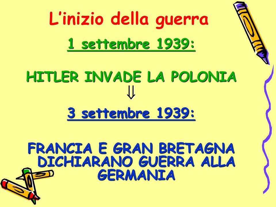L'inizio della guerra  1 settembre 1939: HITLER INVADE LA POLONIA