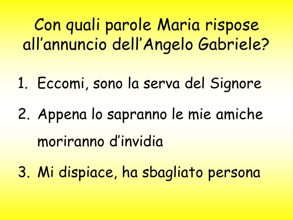 Con quali parole Maria rispose all'annuncio dell'Angelo Gabriele