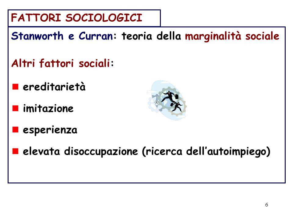 FATTORI SOCIOLOGICI Stanworth e Curran: teoria della marginalità sociale. Altri fattori sociali: ereditarietà.
