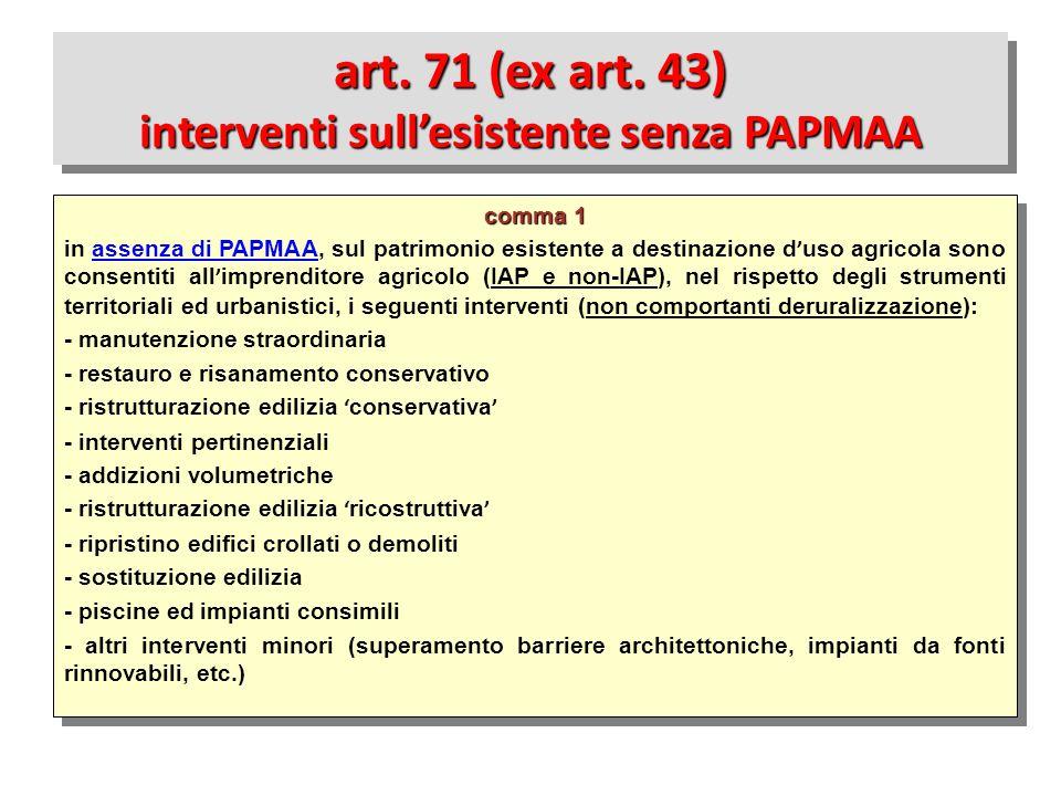 art. 71 (ex art. 43) interventi sull'esistente senza PAPMAA