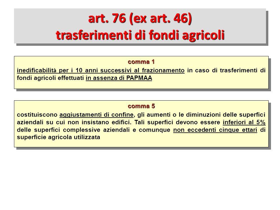art. 76 (ex art. 46) trasferimenti di fondi agricoli
