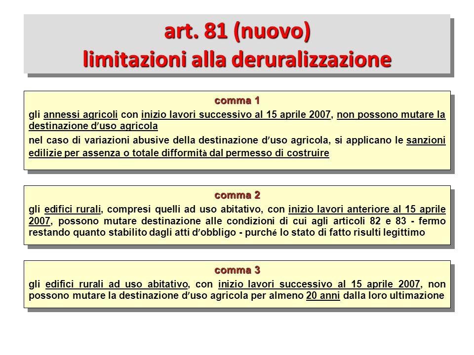 art. 81 (nuovo) limitazioni alla deruralizzazione