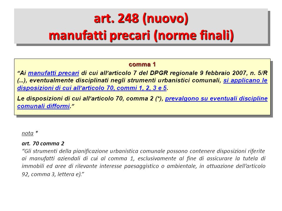 art. 248 (nuovo) manufatti precari (norme finali)