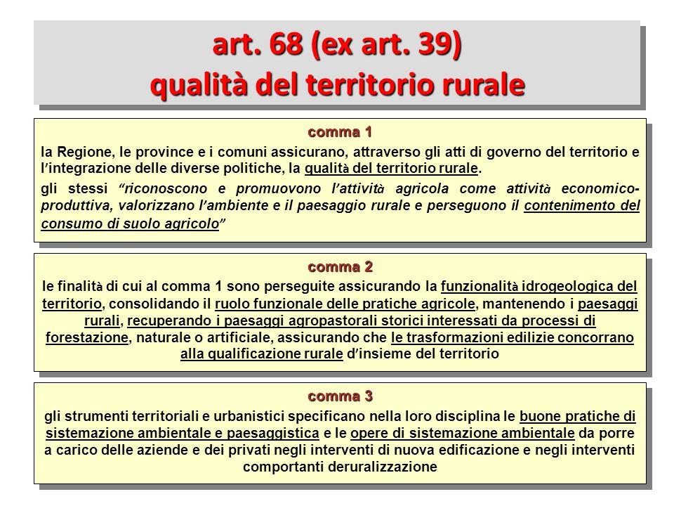 art. 68 (ex art. 39) qualità del territorio rurale