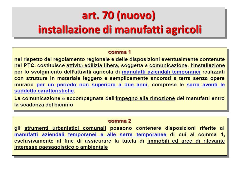 art. 70 (nuovo) installazione di manufatti agricoli