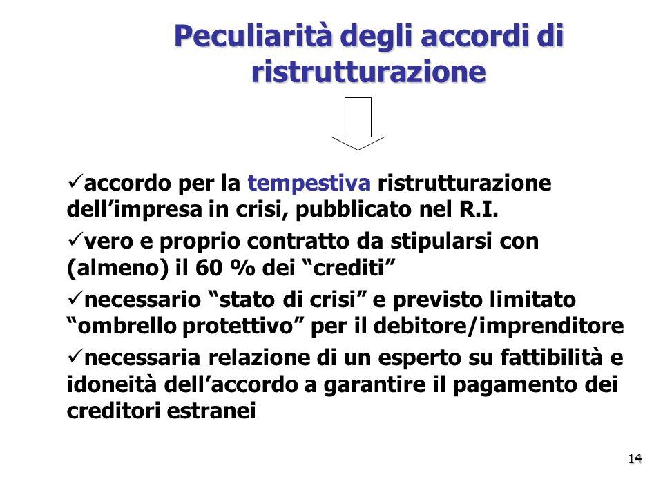 Peculiarità degli accordi di ristrutturazione