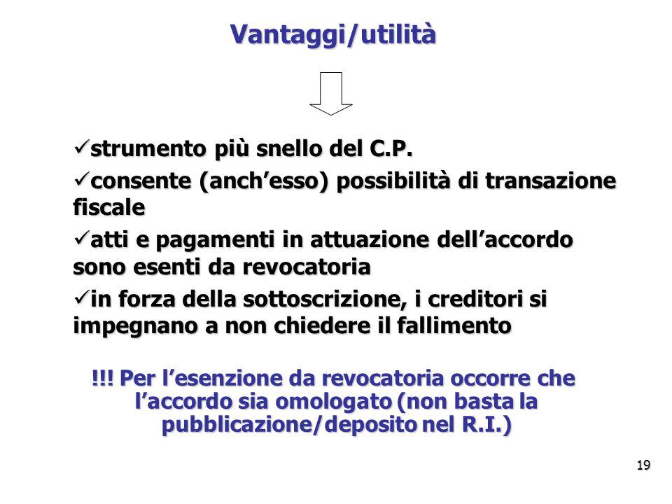 Vantaggi/utilità strumento più snello del C.P.
