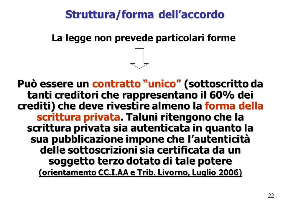 Struttura/forma dell'accordo