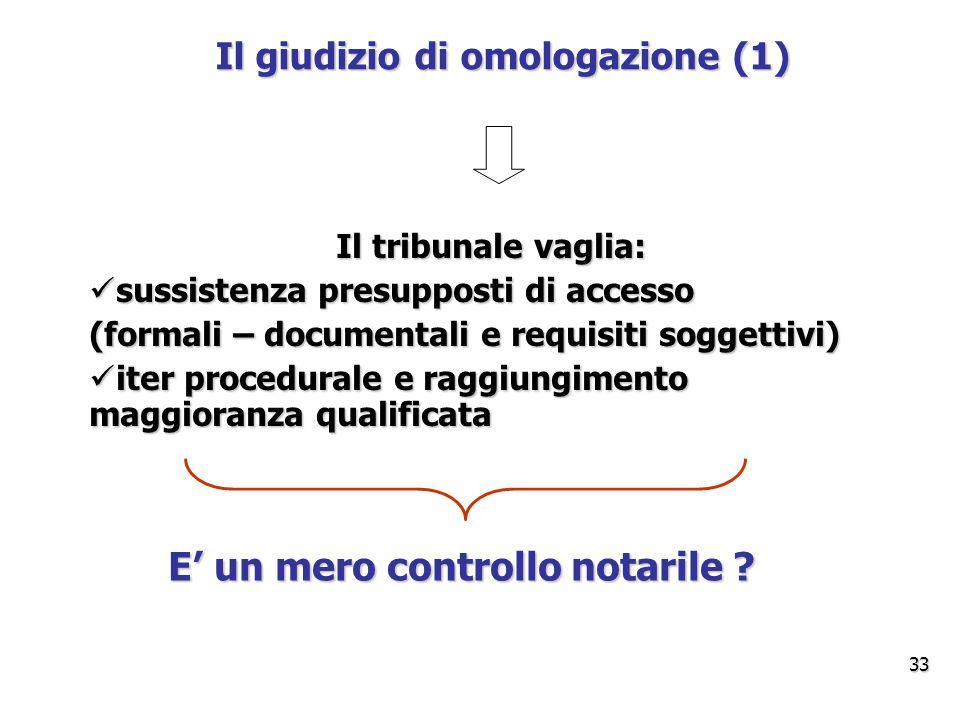 Il giudizio di omologazione (1) E' un mero controllo notarile