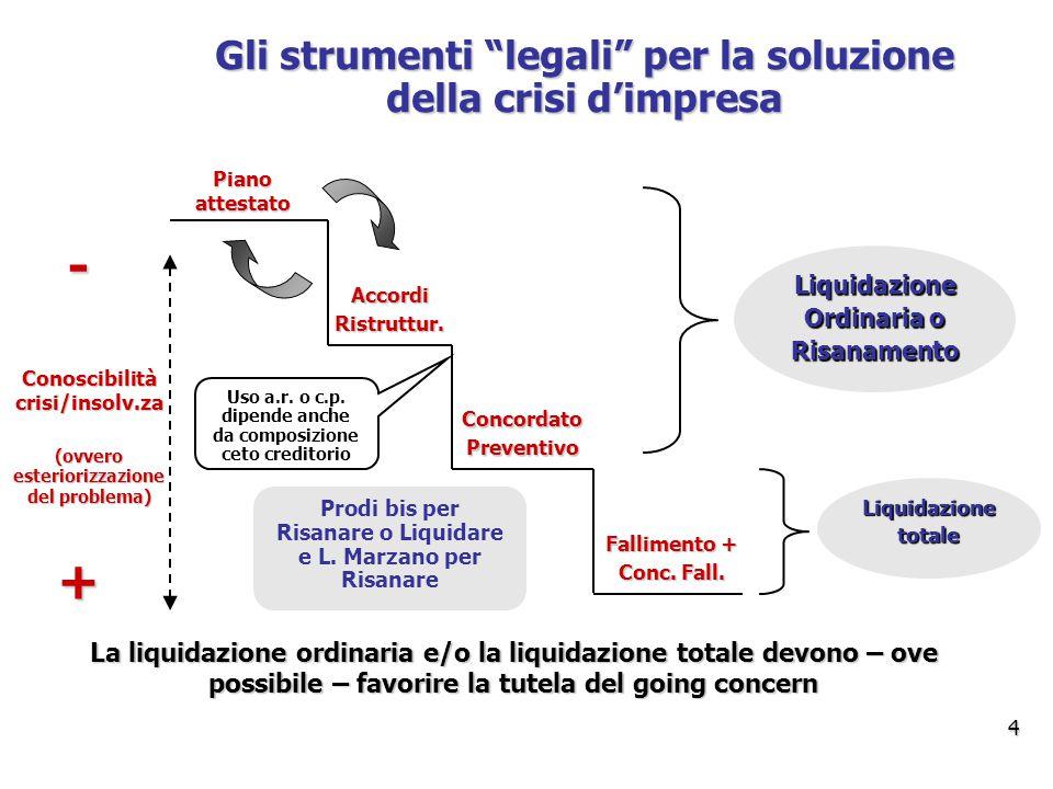 - + Gli strumenti legali per la soluzione della crisi d'impresa