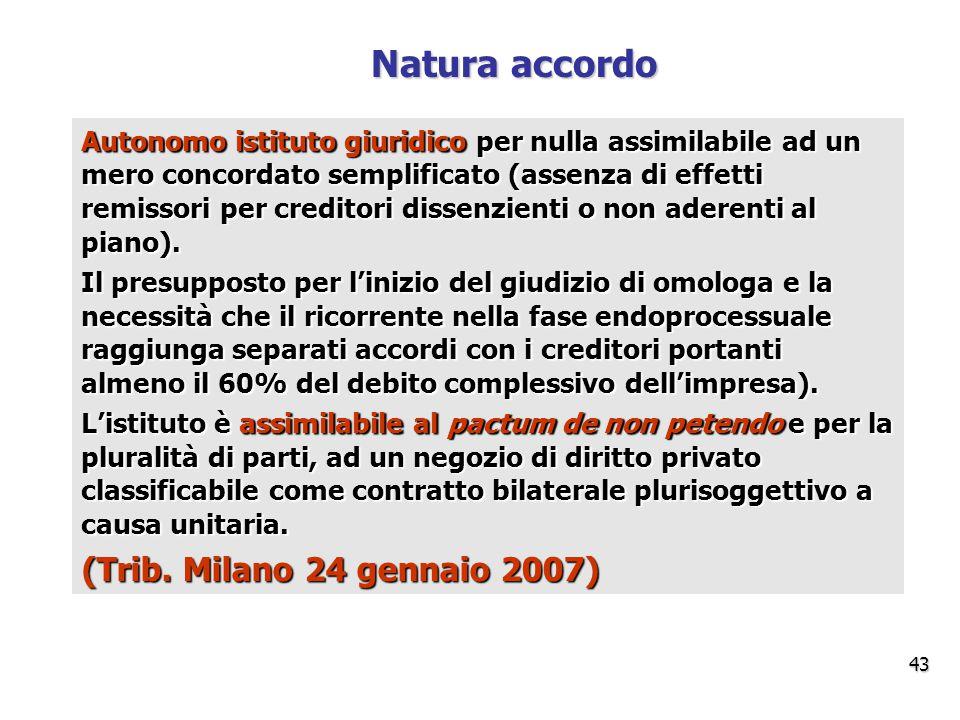 Natura accordo (Trib. Milano 24 gennaio 2007)