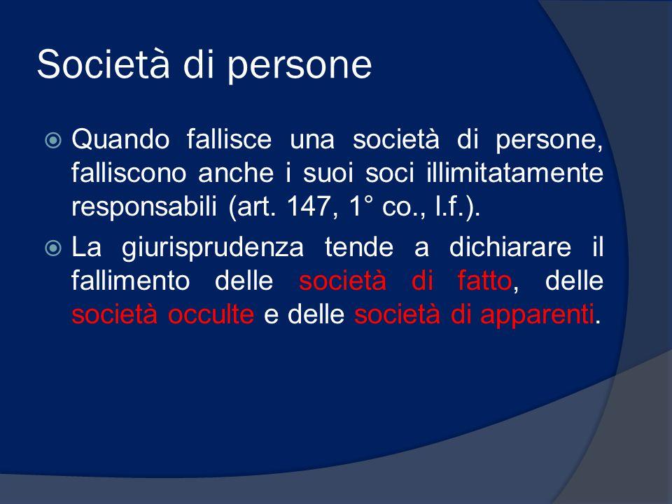 Società di persone Quando fallisce una società di persone, falliscono anche i suoi soci illimitatamente responsabili (art. 147, 1° co., l.f.).