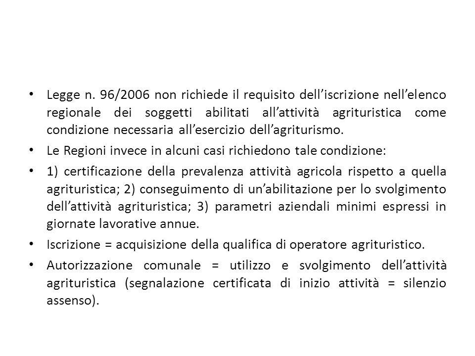 Legge n. 96/2006 non richiede il requisito dell'iscrizione nell'elenco regionale dei soggetti abilitati all'attività agrituristica come condizione necessaria all'esercizio dell'agriturismo.