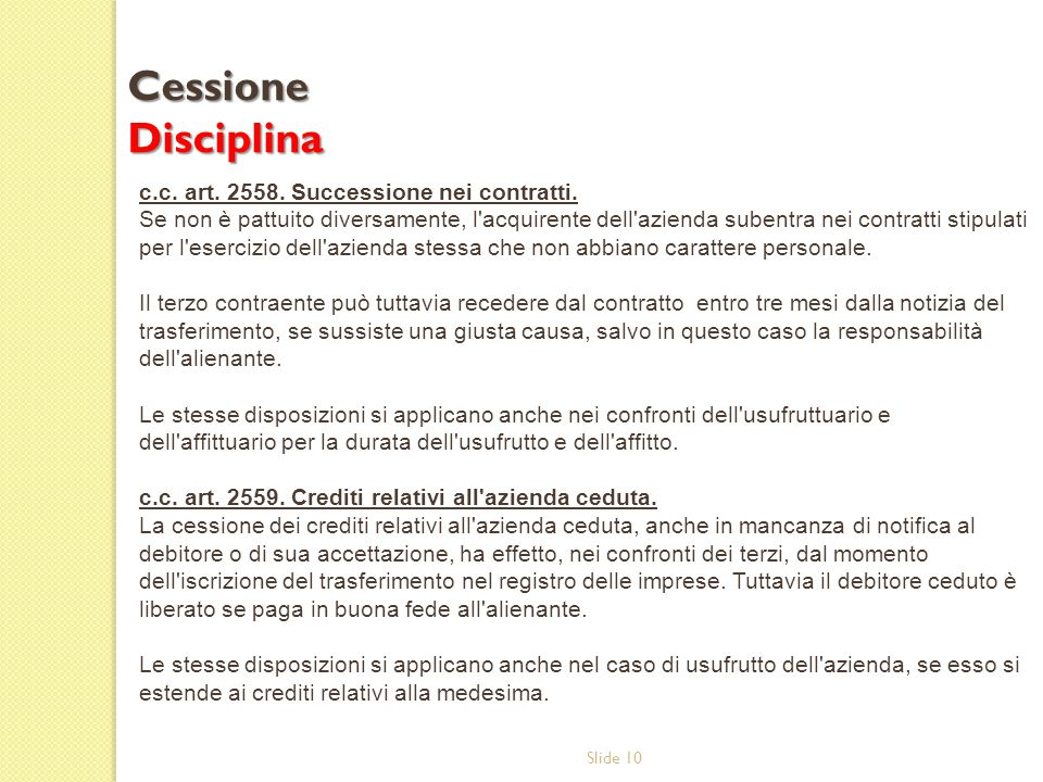 Cessione Disciplina c.c. art. 2558. Successione nei contratti.
