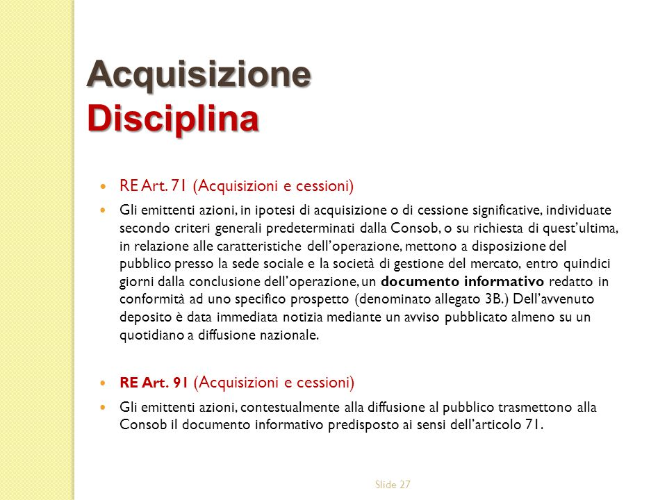 Acquisizione Disciplina