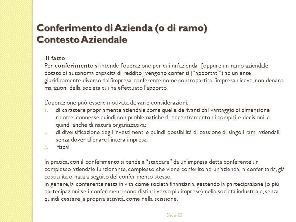 Conferimento di Azienda (o di ramo) Contesto Aziendale