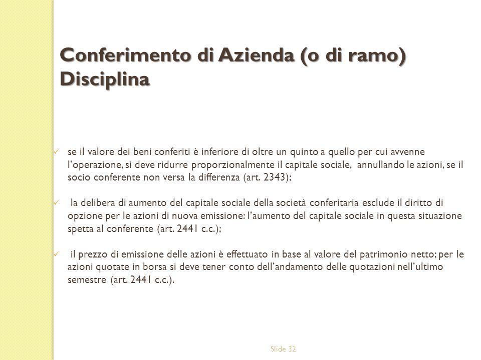 Conferimento di Azienda (o di ramo) Disciplina