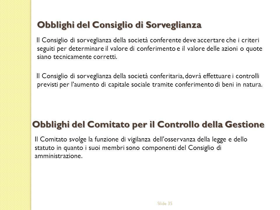 Obblighi del Consiglio di Sorveglianza