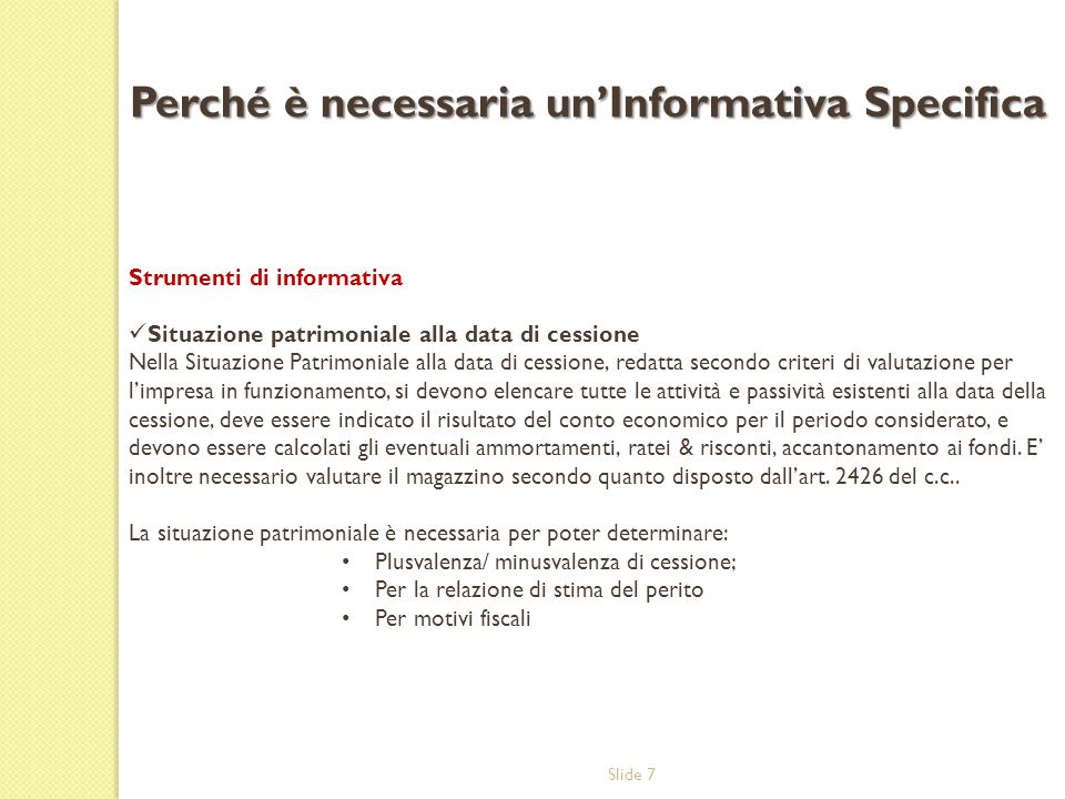 Perché è necessaria un'Informativa Specifica