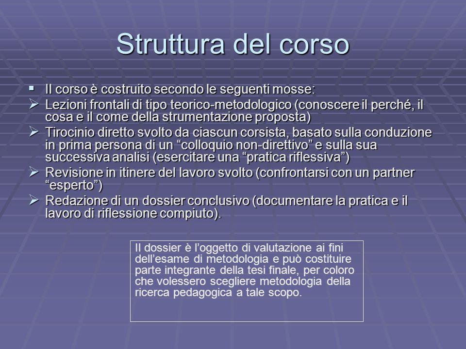 Struttura del corso Il corso è costruito secondo le seguenti mosse: