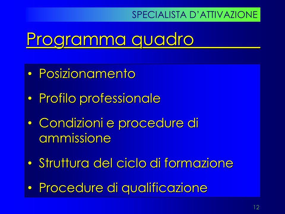 Programma quadro Posizionamento Profilo professionale