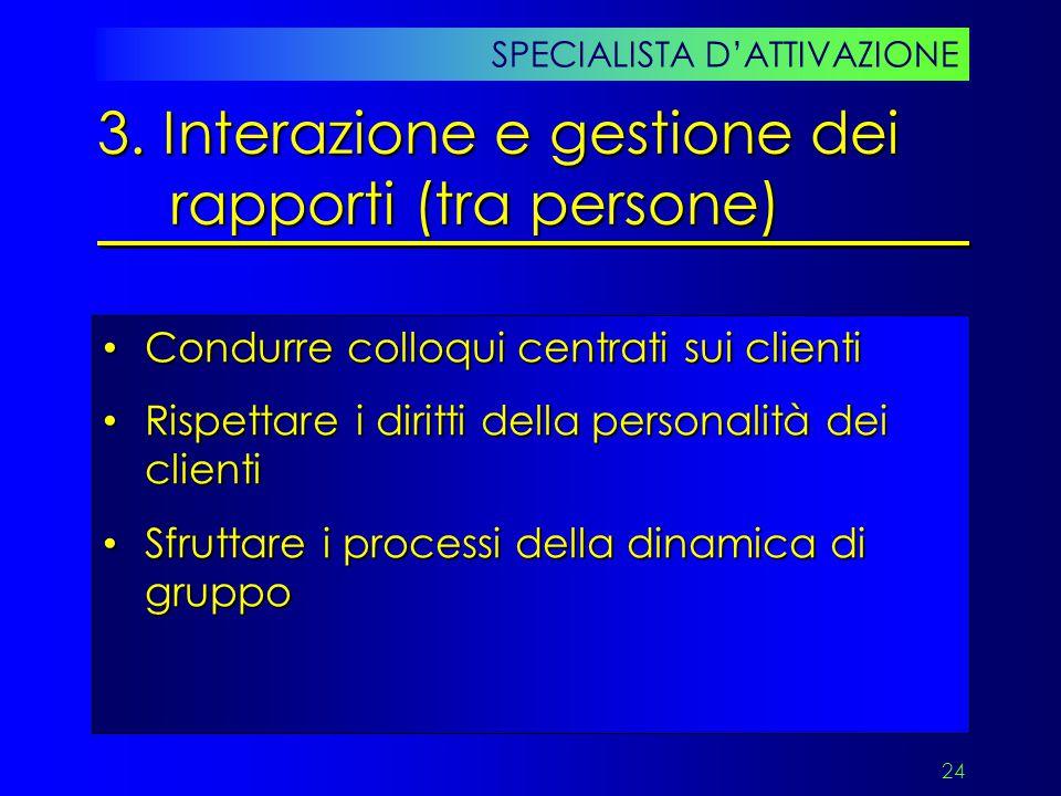 3. Interazione e gestione dei rapporti (tra persone)