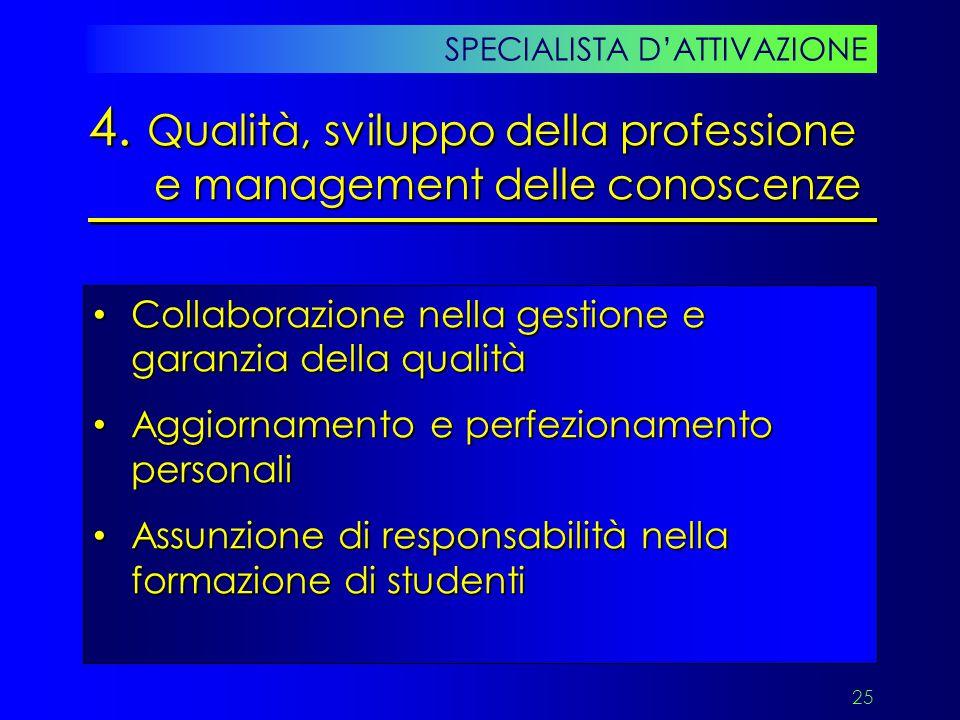 4. Qualità, sviluppo della professione e management delle conoscenze