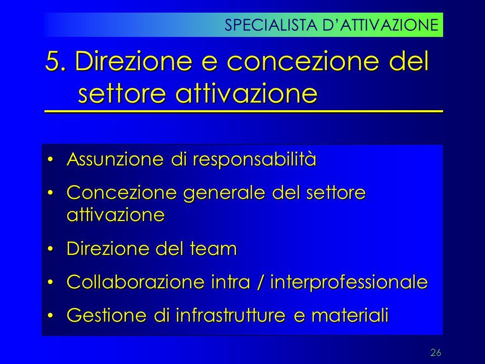 5. Direzione e concezione del settore attivazione