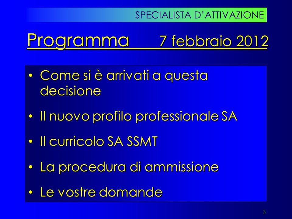 Programma 7 febbraio 2012 Come si è arrivati a questa decisione